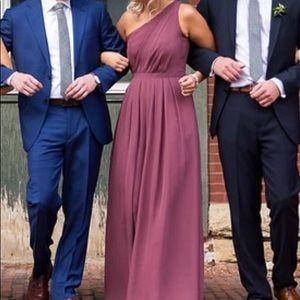 BLUSH / MARSALA One Shoulder Bridesmaid Dress